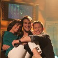"""American Idol's"" James Durbin gives Kit Hoover a lift on Access Hollywood Live as Billy Bush gets in on the action, May 2011"