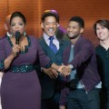 "Simon Cowell, Jackie Evancho, Oprah Winfrey, Will Smith, Usher and Tom Cruise on stage at ""Oprah! A Farewell Spectacular"" at the United Center in Chicago, Illinois on May 17, 2011"