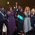"Oprah Winfrey, Patti LaBelle, Beyonce, Madonna and Dakota Fanning attend the ""Surprise Oprah! A Farewell Spectacular"" at the United Center, Chicago, May 17, 2011"