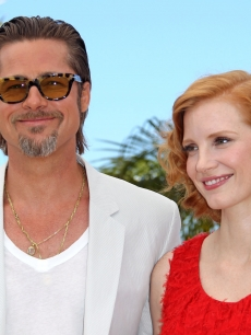 "Brad Pitt and Jessica Chastain attend ""The Tree Of Life"" photocall during the 64th Annual Cannes Film Festival at Palais des Festivals in Cannes, France on May 16, 2011"
