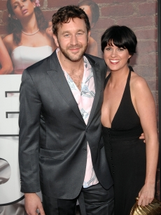 "Chris O'Dowd and a guest attend the ""Bridesmaids"" Los Angeles premiere at Mann Village Theatre in Westwood, Calif. on April 28, 2011"