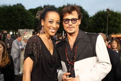 Access Hollywood&#8217;s Shaun Robinson with Johnny Depp at the &#8220;Pirates of the Caribbean: On Stranger Tides&#8221; premiere at Disneyland, Anaheim, Calif., May 7, 2011
