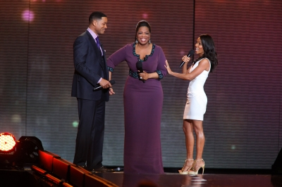 Will Smith, Oprah Winfrey and Jada Pinkett Smith attend Surprise Oprah! A Farewell Spectacular at the United Center in Chicago, Illinois, on May 17, 2011