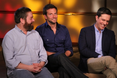 Zach Galifianakis, Bradley Cooper and Ed Helms are all smiles while chatting with Access Hollywood at the junket for &#8220;The Hangover, Part II&#8221; in Los Angeles on May 18, 2011