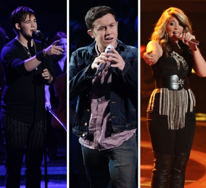 "James Durbin, Scotty McCreery, Lauren Alaina on ""American Idol,"" May 4, 2011"
