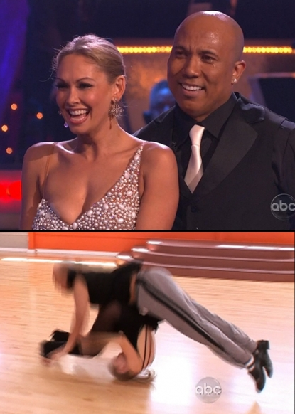 "Kym Johnson and Hines Ward bounce back after injury on ""Dancing with the Stars"" (top); Kym & Hines at the moment she was injured in rehearsal (bottom), May 2011"