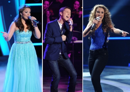 "Lauren Alaina, Scotty McCreery and Haley Reinhart compete on ""American Idol,"" May 18, 2011"