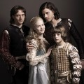 "David Oakes as Juan Borgia, Holliday Grainger as Lucrezia Borgia, Francois Arnaud as Cesare Borgia, and Aidan Alexander as Joffre Borgia in ""The Borgias"""