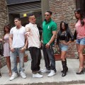 Sammi 'Sweetheart' Gianicola, Deena Nicole Cortese, Ronnie Ortiz Magro, Mike 'The Situation' Sorrentino, Paul 'Pauly D' DelVecchio, Nicole 'Snooki' Polizzi, Jenny 'JWoww' Farley and Vinny Guadagnino attend 'Jersey Shore' photocall at Hotel Brunelleschi  in Florence, Italy, on May 19, 2011