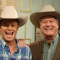 Billy Bush and Larry Hagman show off their matching cowboy hats on Access Hollywood Live on May 25, 2011