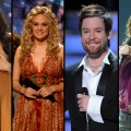 "Jordin Sparks, Carrie Underwood, David Cook and Kelly Clarkson as they won their respective seasons of ""American Idol"""