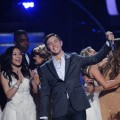 "Scotty McCreery celebrates after being crowned the Season 10 winner on ""American Idol's"" Grand Finale at the Nokia Theatre, Los Angeles, May 25, 2011"