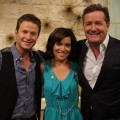 Billy Bush, Kit Hoover and Piers Morgan on Access Hollywood Live on May 26, 2011