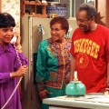 Phylicia Rashad, portraying Clair Huxtable, left, talks on the telephone while Clarice Taylor, portraying Anna Huxtable, center, and Bill Cosby, portraying Dr. Cliff Huxtable and Raven Symone portraying Olivia, right, look on in a scene from &#8220;The Cosby Show circa 1992.