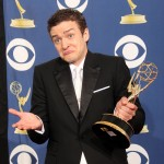 Justin Timberlake poses with his Emmy for Oustanding Guest Actor in a Comedy Series for 'Saturday Night Live' at the 61st Primetime Emmy Awards held at the Nokia Theatre, Los Angeles, on September 20, 2009