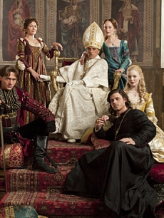 "Aidan Alexander as Joffre Borgia, David Oakes as Juan Borgia Joanne Whalley as Vanozza dei Cattanei, Jeremy Irons as Rodrigo Borgia, Lotte Verbeek as Guilia Farnese, Francois Arnaud as Cesare Borgia, and Holliday Grainger as Lucrezia Borgia in ""The Borgias,"" Showtime, 2011"