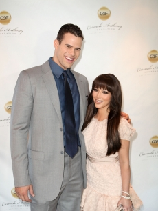 "Kris Humphries and Kim Kardashian step out for ""A Very Melo Brunch"" in West Hollywood, Calif. on February 20, 2011"