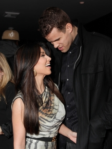 "Kim Kardashian and Kris Humphries cozy up at Kevin Hart's ""Laugh At My Pain"" Official After Party at Club Nokia in Los Angeles on February 18, 2011"