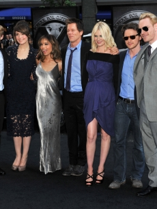 """X-Men: First Class"" stars Lucas Till, Rose Byrne, Zoe Kravitz, Kevin Bacon, January Jones, James McAvoy and Michael Fassbender attend the ""X-Men: First Class"" New York premiere in New York City on May 25, 2011"