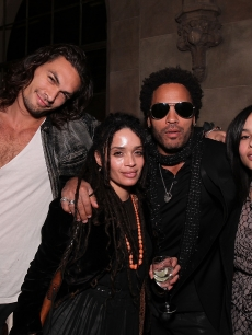 Jason Momoa, Lisa Bonet, Lenny Kravitz and Zoe Kravitz at Entertainment Weekly's Party to Celebrate the Best Director Oscar Nominees held at Chateau Marmont, Los Angeles, on February 25, 2010