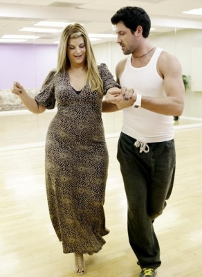 "Kirstie Alley and Maksim Chmerkovskiy rehearse for the premiere of ""Dancing with the Stars,"" March 2011"
