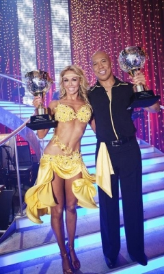Kym Johnson and Hines Ward hold up their mirrorball trophies for winning Season 12 of &#8220;Dancing with the Stars,&#8221; May 24, 2011