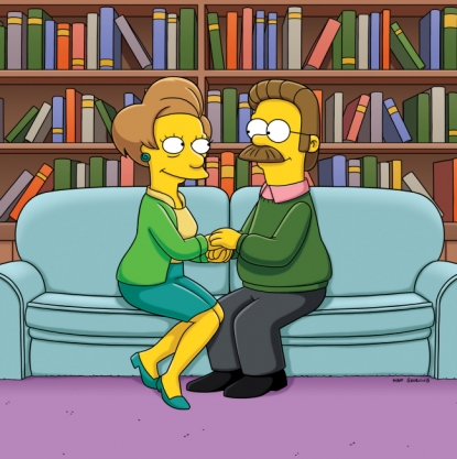 "Ned Flanders and Edna Krabappel on ""The Simpsons"""