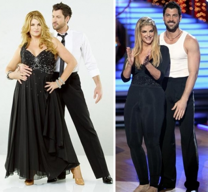 "Kirstie Alley and Maksim Chmerkovskiy at the start of the season (left) and in the finals (right) on ""Dancing with the Stars,"" 2011"
