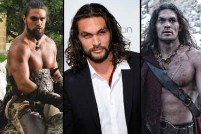 "Jason Momoa as Khal Drogo (left) in ""Game of Thrones,"" on the red carpet in Las Vegas (center), and as Conan (right)"