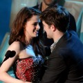 Kristen Stewart and Robert Pattinson onstage during the 2011 MTV Movie Awards at Universal Studios' Gibson Amphitheatre in Universal City, Calif., on June 5, 2011