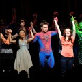 "The cast of ""Spider-Man Turn Off The Dark"" during curtail call at the Broadway opening night at Foxwoods Theatre on June 14, 2011 in New York City"
