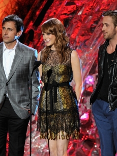 Steve Carell, Emma Stone, and Ryan Gosling speak onstage during the 2011 MTV Movie Awards at Universal Studios' Gibson Amphitheatre Universal City, Calif., on June 5, 2011