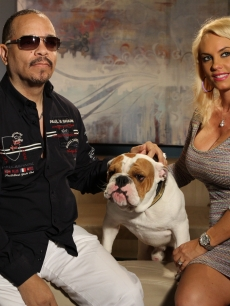 Ice-T and Coco pose with their pup, Spartacus, on the set of Access Hollywood Live on June 7, 2011