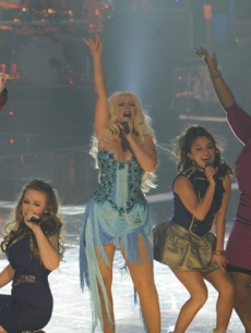 "Beverly McClellan, Lily Elise, Christina Aguilera, Raquel Castro and Frenchie Davis perform ""Lady Marmalade"" on NBC's ""The Voice,"" June 7, 2011"
