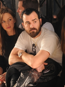 Heidi Bivens and Justin Theroux attend the Y-3 Fall 2011 fashion show during Mercedes-Benz Fashion Week at 82 Mercer in New York City on February 13, 2011 