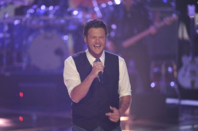 "Blake Shelton performs on ""The Voice,"" June 7, 2011"