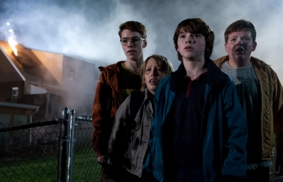 "Gabriel Basso plays Martin, Ryan Lee plays Cary, Joel Courtney plays Joe Lamb and Riley Griffiths plays Charles in a scene from 2011's ""Super 8"""