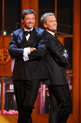 Hugh Jackman and Neil Patrick Harris perform on stage during the 65th Annual Tony Awards at the Beacon Theatre in New York City on June 12, 2011 
