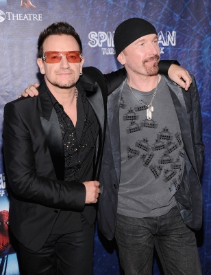U2's Bono and The Edge attend the opening night of  'Spider-Man Turn Off The Dark' on Broadway, New York City on June 14, 2011