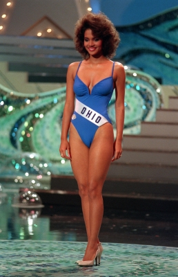 Halle Berry competes in the 1986 Miss USA pageant as Miss Ohio