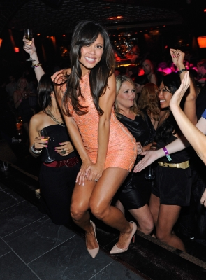 Vanessa Minnillo dances at her bachelorette party at LAVO in Las Vegas on June 17, 2011