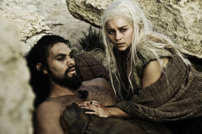 Jason Momoa as Khal Drogo and Emilia Clarke as Daenerys Targaryen in the &#8220;Game of Thrones&#8221; Season 1 finale, HBO, 2011