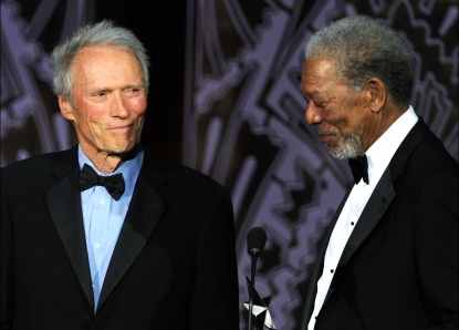 Clint Eastwood presents actor Morgan Freeman the 39th Life Achievement Award onstage at the 39th AFI Life Achievement Award honoring Morgan Freeman held at Sony Pictures Studios in Culver City, Calif. on June 9, 2011
