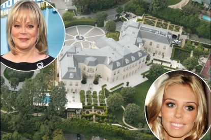 Spelling Mansion/ inset top: Candy Spelling, inset bottom: Petra Ecclestone