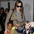 Angelina Jolie, Shiloh and Zahara arrive at LAX Airport on September 18, 2010 in Los Angeles