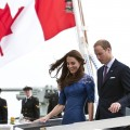 Prince William and his wife Catherine, Duchess of Cambridge, disembark from Her Majesty's Canadian Ship Montreal on their arrival in Quebec City, on the fourth day of their nine-day tour of Canada on July 3, 2011