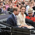 Catherine, Duchess of Cambridge, and Prince William, Duke of Cambridge arrive by carriage as they visit the Province House, Charlottetown, Canada, on July 5, 2011