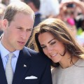 Prince William, Duke of Cambridge, and Catherine, Duchess of Cambridge, look on during an an official welcome ceremony at the Somba K'e Civic Plaza, Yellowknife, Canada, July 5, 2011