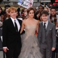 "Rupert Grint, Emma Watson and Daniel Radcliffe attend the world premiere of ""Harry Potter and The Deathly Hallows - Part 2"" at Trafalgar Square, London, on July 7, 2011"