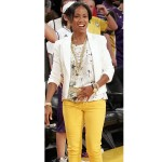 Jada Pinkett Smith is spotted at halftime of Game Four of the 2008 NBA Finals between the Boston Celtics and the Los Angeles Lakers on June 12, 2008